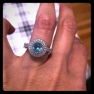 Aquamarine and Crystal fashion ring sz 7